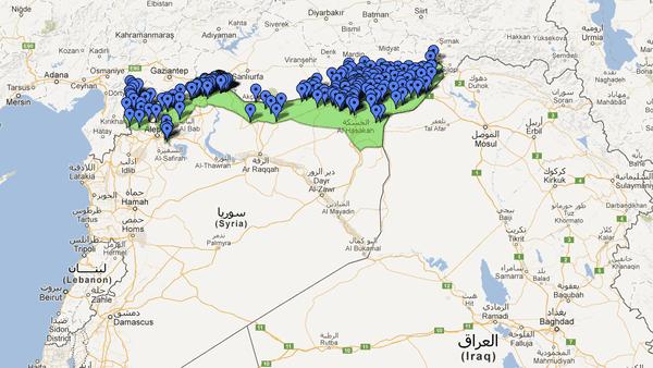 خريطة كردستان سوريا كما أعدها مركز ياسا