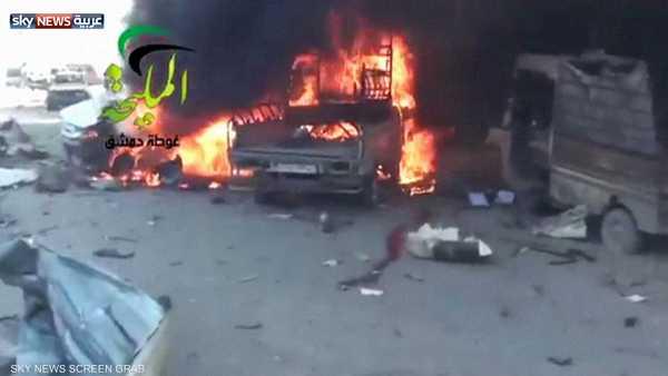 قصف محطة وقود شرقي دمشق