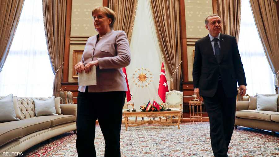 جانب من لقاء ميركل وأردوغان في العاصمة التركية أنقرة