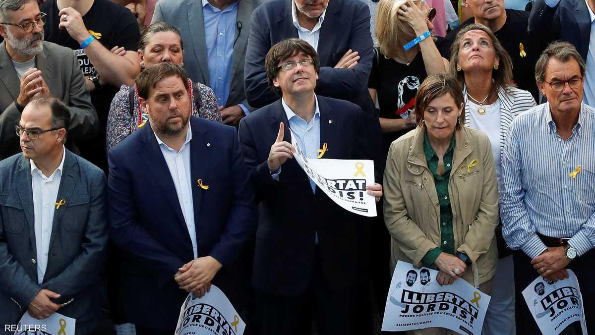 حضر زعيم كتالونيا التظاهرة رفضا لمطالب مدريد