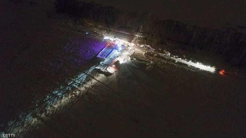 منظر من أعلى لموقع سقوط الطائرة