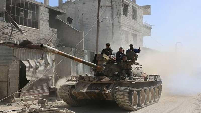 أفراد من الجيش السوري في الغوطة الشرقية.