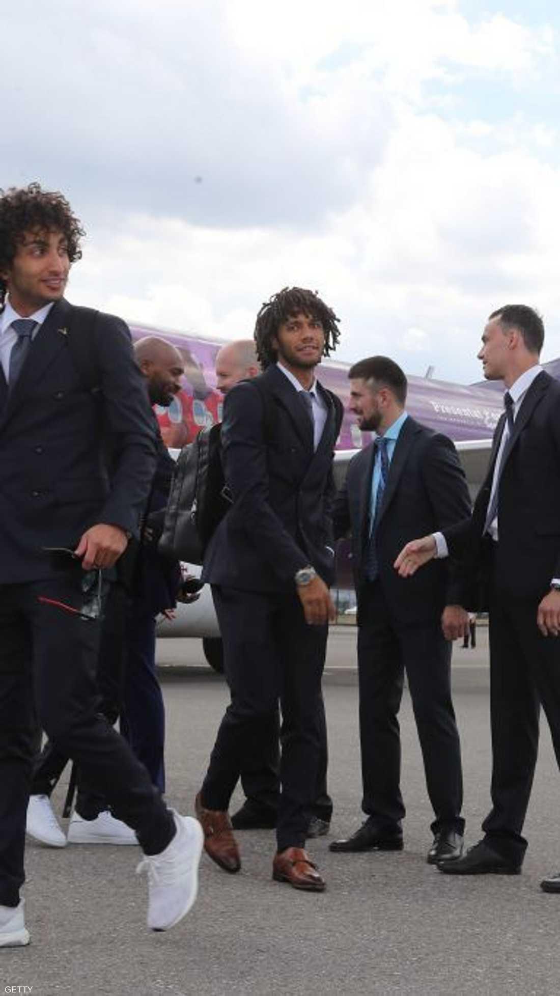 لاعبو منتخب مصر في مطار غروزني