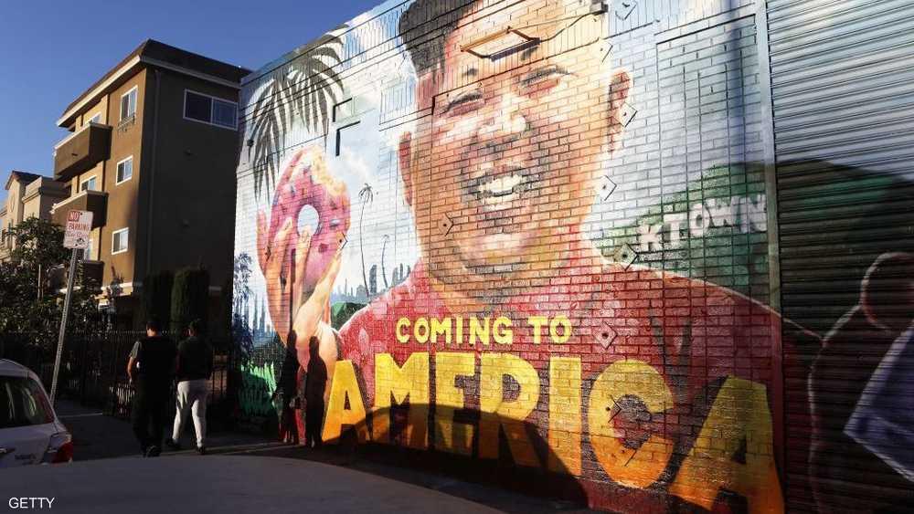 وجه ترامب وصل إلى حوائط لوس أنجلوس في كاليفورتيا