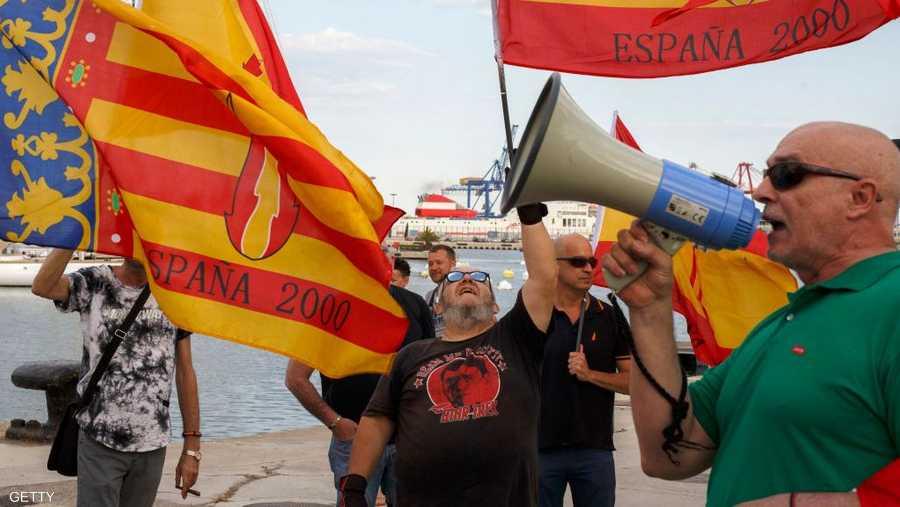 إسبان يتظاهرون ضد استقبال المهاجرين