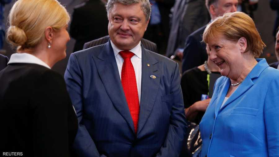 المستشارة الألمانية أنغيلا ميركل في حديث مع رئيسة كرواتيا