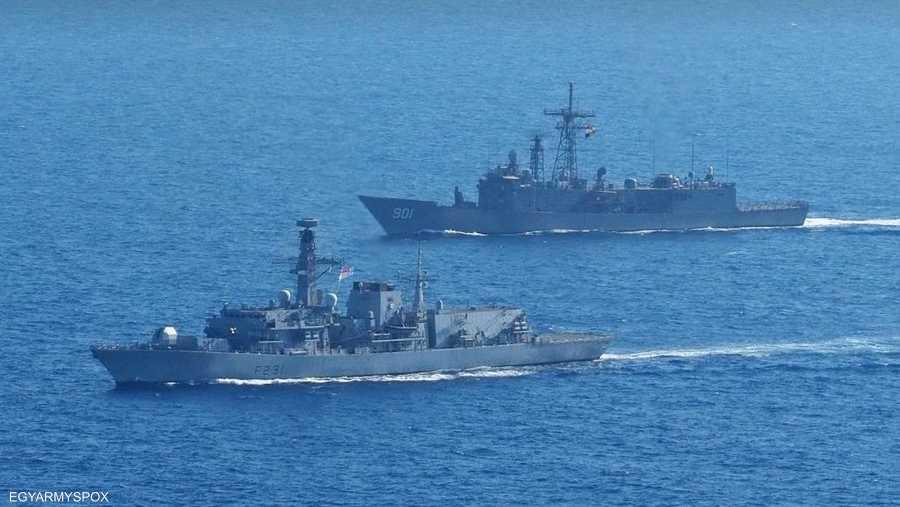قطع بحرية من مصر وبريطانيا شاركت في التدريب