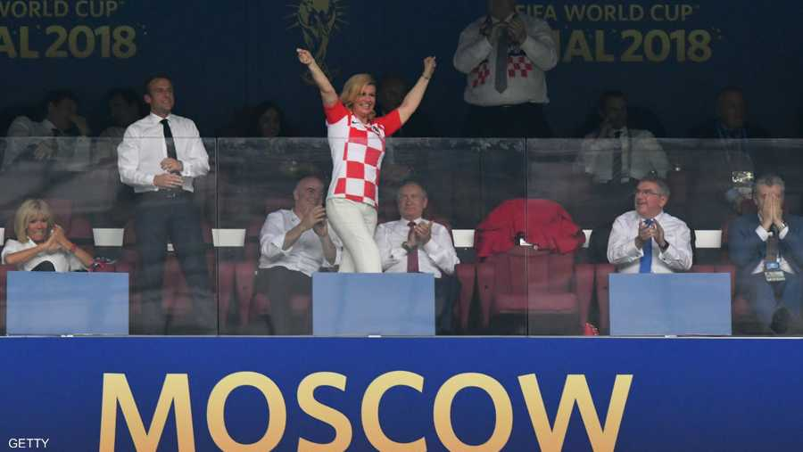 رئيسة كرواتيا في لقطة معبرة