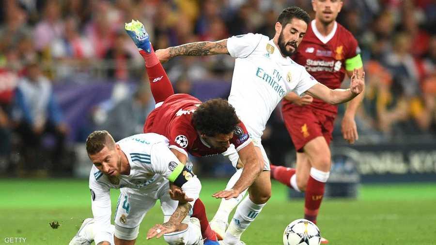 صلاح أصيب خلال مباراة ريال مدريد