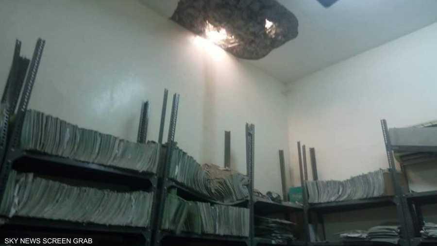 إحدى القذائف سقطت على مكتب أرشيف المستشفى