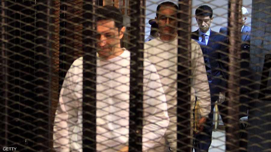 جمال وعلاء مبارك أثناء محاكمة سابقة