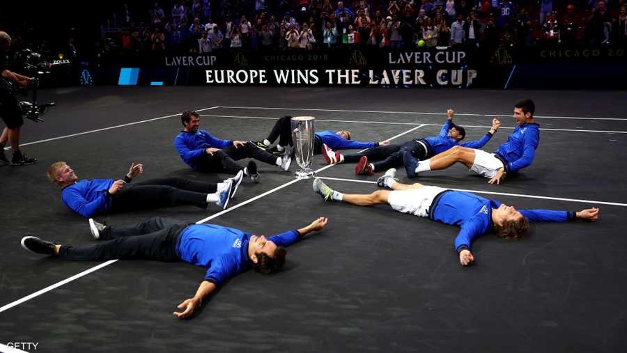 فريق أوروبا يحتفل على الأرض