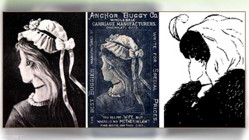 الرسمة الأصلية ظهرت في بطاقة بريدية ألمانية (في الوسط)