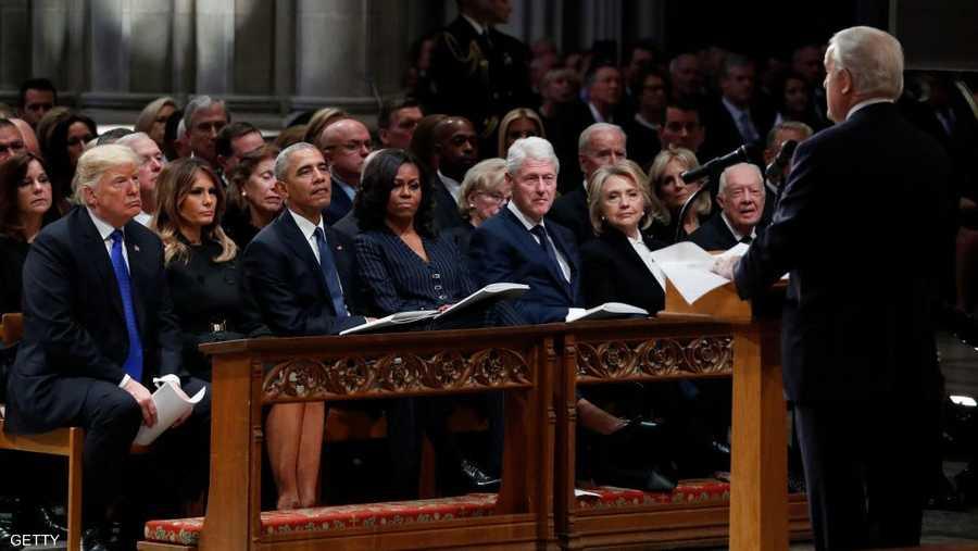 التأبين شهد حضور ترامب وأوباما وكلينتون وكارتر