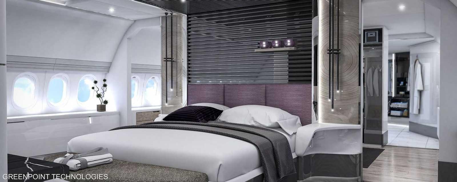 غرفة النوم الرئيسية في مؤخرة الطائرة من غرينبوينت تيك