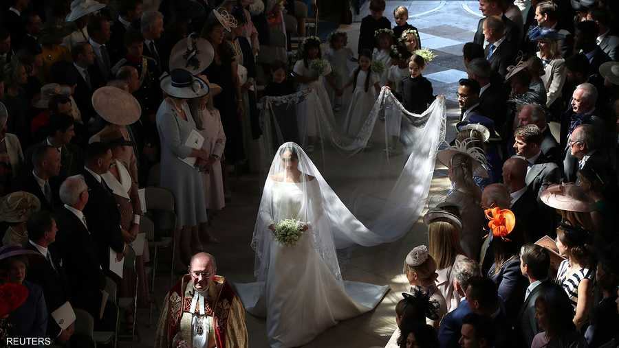 """ميغان ماركل في ممر الزفاف خلال """"الزفاف الملكي"""""""