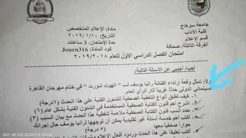 سؤال عن فستان رانيا يوسف