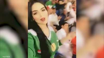 مشجعة مغربية تشعل المدرجات العراقية
