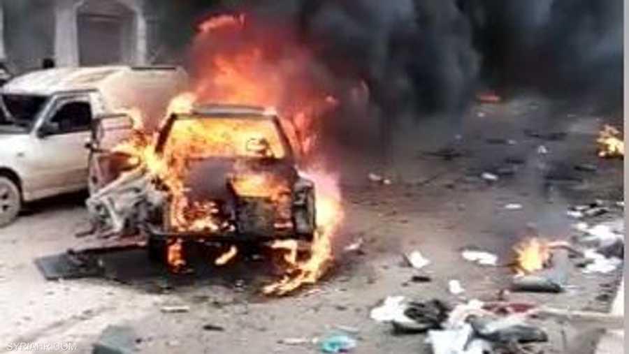 موقع انفجار السيارة المفخخة في عفرين شمالي سوريا