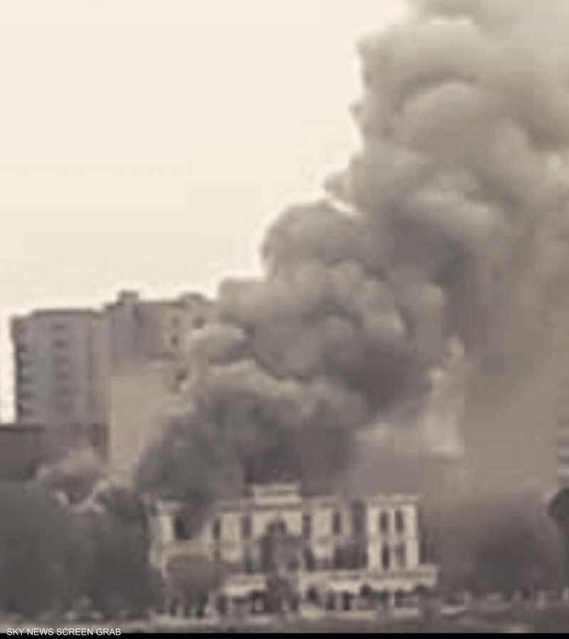 حريق هائل يشتعل القصر الجمهوري السابق في السودان
