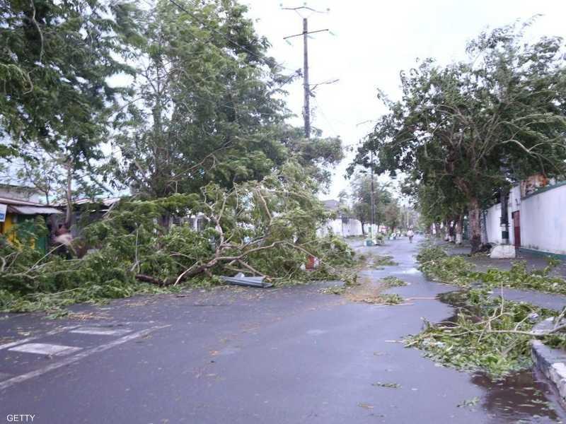 جانب من الدمار الذي تسبب به الإعصار كينيث