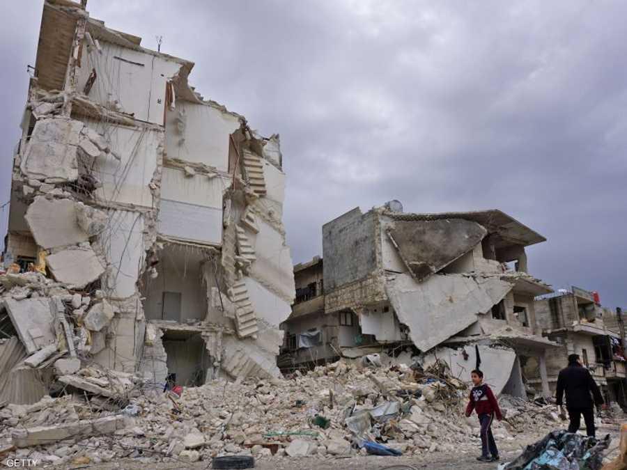 جانب من الدمار الذي تعرضت له إدلب في سوريا