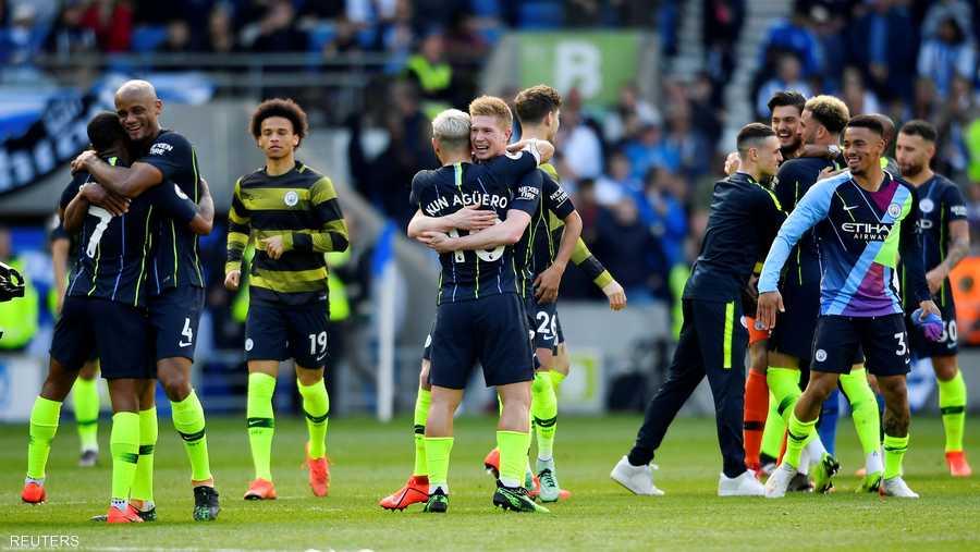 لاعبو مانشستر سيتي لحظة الفوز