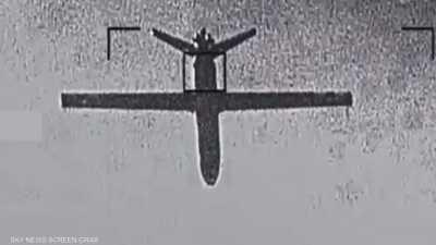 لحظة تدمير طائرة إيرانية بلا طيار أطلقها الحوثيون