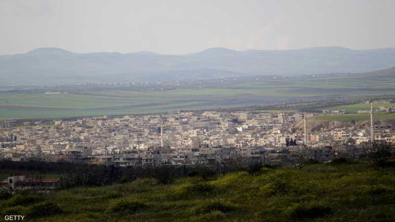 بلدة خان شيخون في محافظة إدلب شمال غربي سوريا