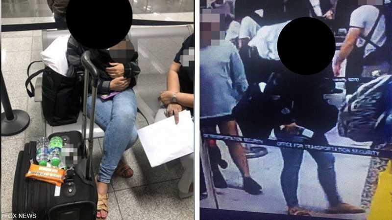 المرأة الأميركية حاولت تهريب الرضيع في حقيبتها