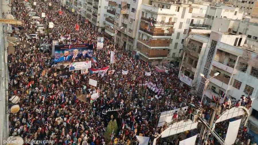 الآلاف خرجوا في مدينة عدن