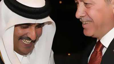 """أمير قطر يسبح في """"نبع أردوغان"""""""