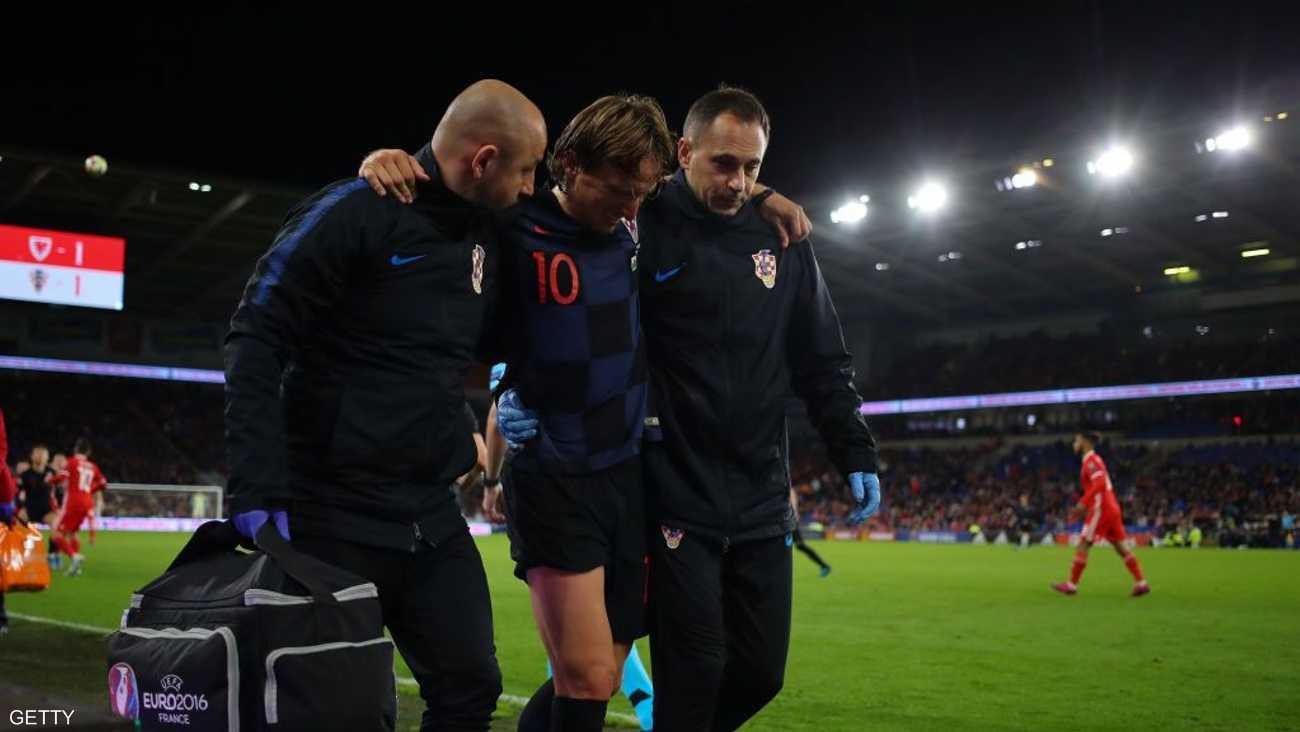 تعرض مودريتش للإصابة في مباراة كرواتيا وويلز