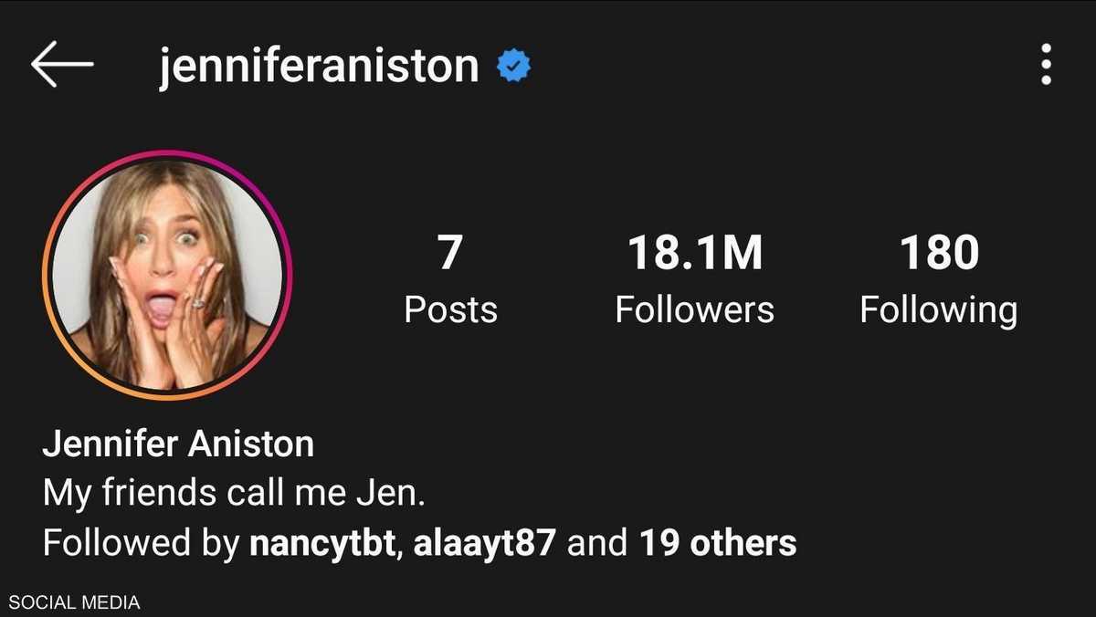أنستون جلبت 18 مليون متابع على إنستغرام