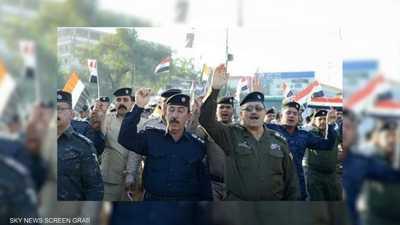 تظاهرة لضباط ومنتسبي شرطة محافظة كربلاء لمساندة الحراك