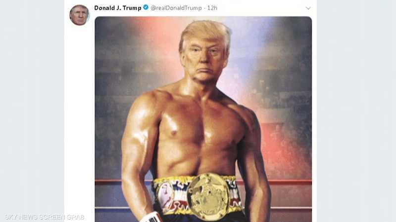 ترامب ينشر صورة له بجسد الممثل سيلفستر ستالون عبر تويتر