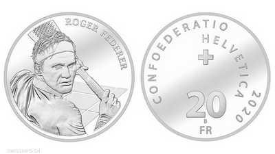 """فيدرر أول """"إنسان حي"""" على عملة بتاريخ سويسرا"""