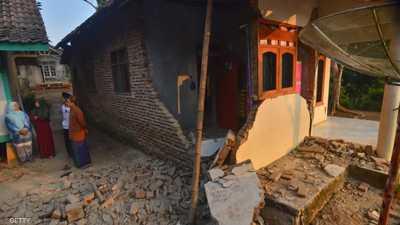 أرشيفة لمنازل تضررت من زلزال سابق في إندونيسيا