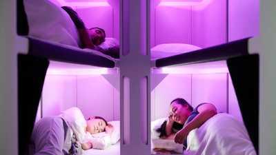 العش السماوي.. مخادع نوم للرحلات الجوية الطويلة