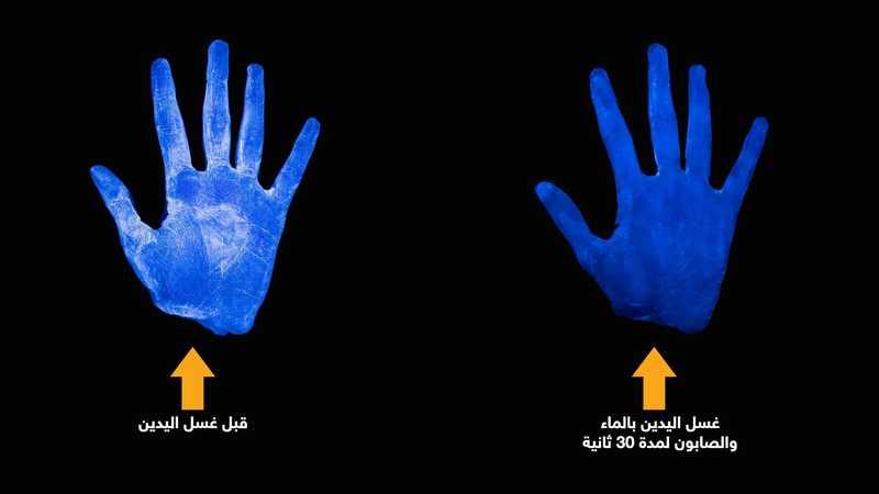 الفرق بين عدم غسل اليد وغسل اليد يالصابون