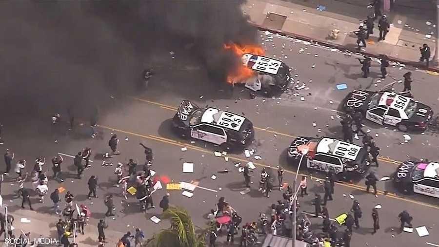 لقطات تكشف حجم التظاهرات وعنفها