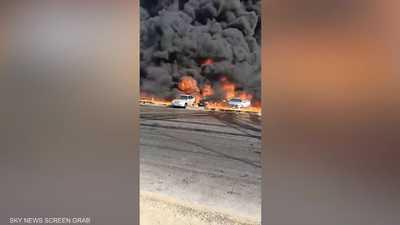 شاهد.. حريق ضخم في طريق القاهرة - الإسماعيلية الصحراوي