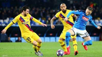 من لقاء برشلونة ونابولي في مباراة الذهاب