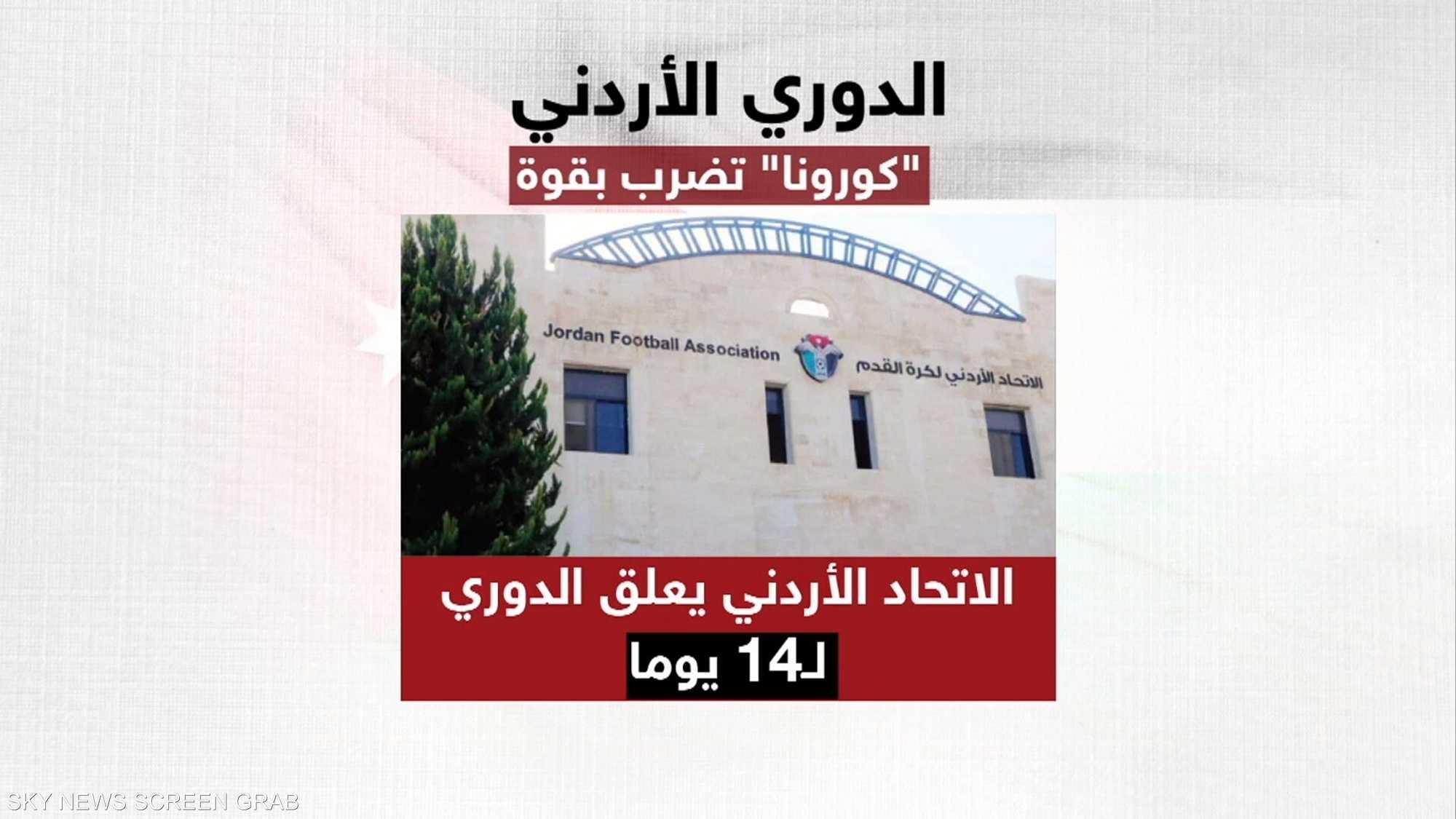 تعليق منافسات الدوري الأردني مؤقتا بسبب كورونا