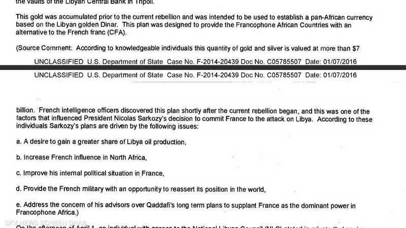 """الوثيقة تتحدث عن دور فرنسي """"مشبوه"""" من وراء الإطاحة بالقذافي."""