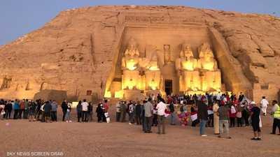 بالصور.. تعامد الشمس على معبد رمسيس الثاني