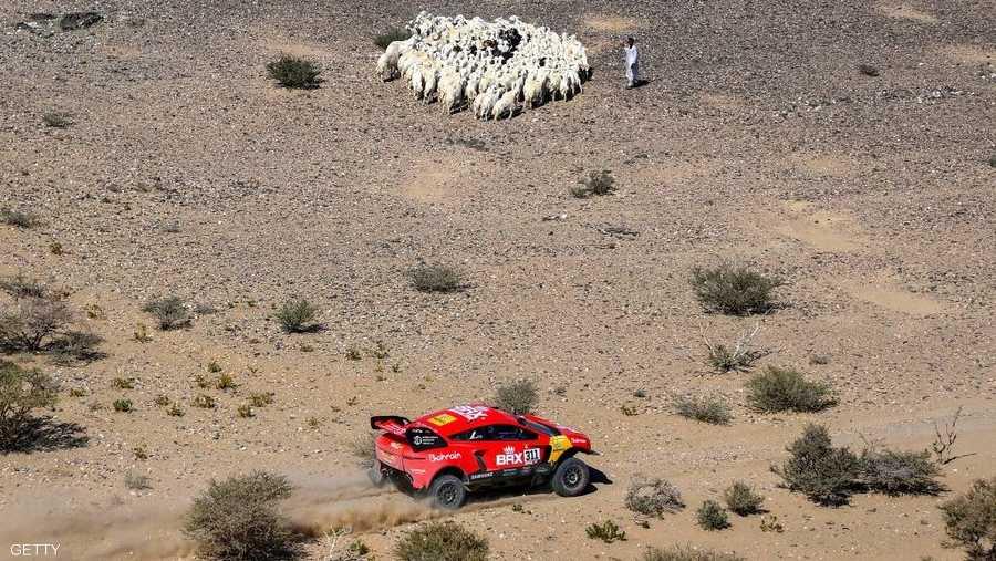 سيارة حمراء.. وأغنام في الأفق