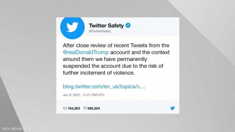 رئيس تويتر: حظر حساب ترامب سابقة خطرة