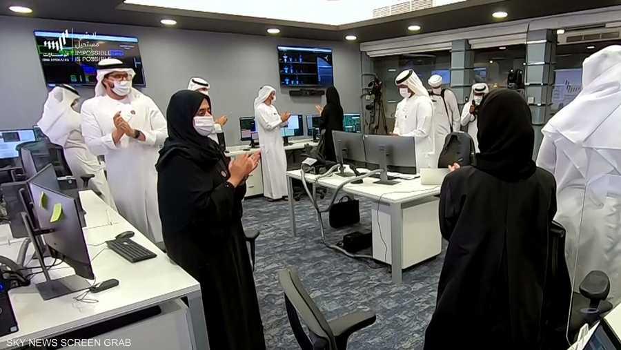 """لجظة الإعلان عن وصول """"مسبار الأمل"""" الإماراتي إلى المريخ"""