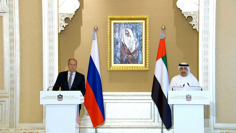 المؤتمر الصحفي لوزير الحارجية الإماراتي والروسي
